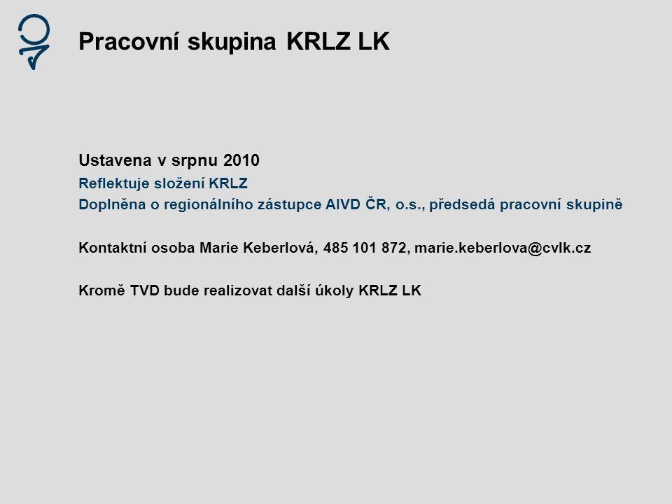 Pracovní skupina KRLZ LK Ustavena v srpnu 2010 Reflektuje složení KRLZ Doplněna o regionálního zástupce AIVD ČR, o.s., předsedá pracovní skupině Konta