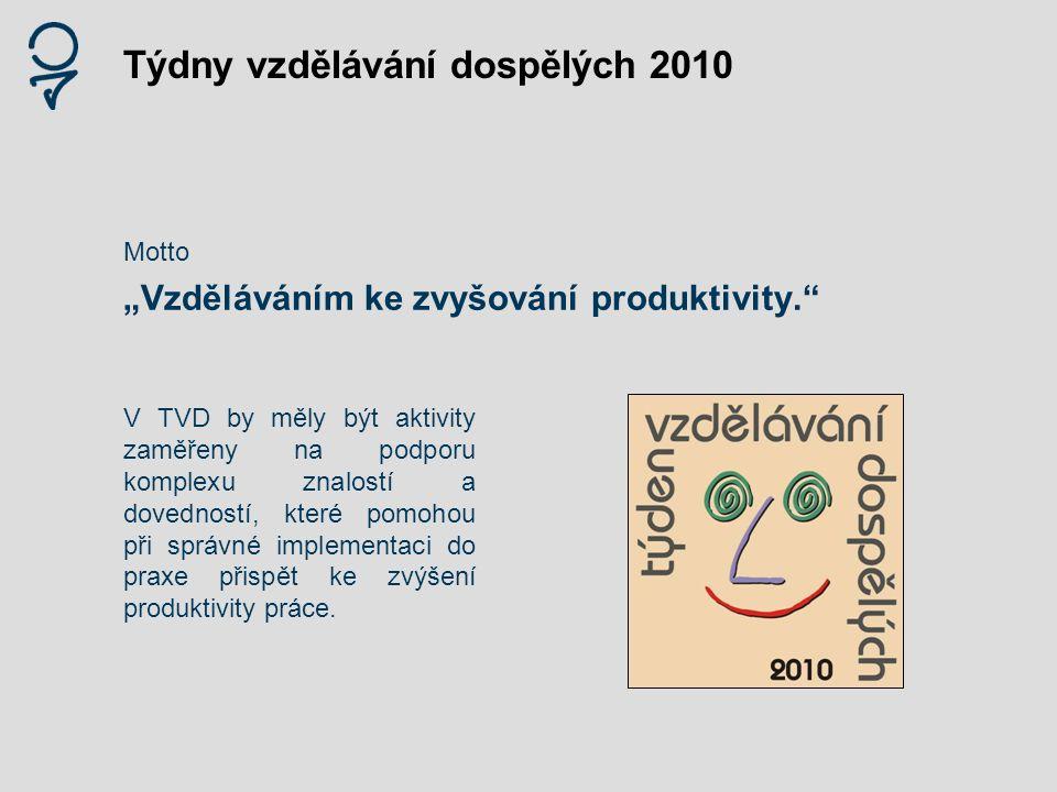 """Týdny vzdělávání dospělých 2010 Motto """"Vzděláváním ke zvyšování produktivity."""" V TVD by měly být aktivity zaměřeny na podporu komplexu znalostí a dove"""