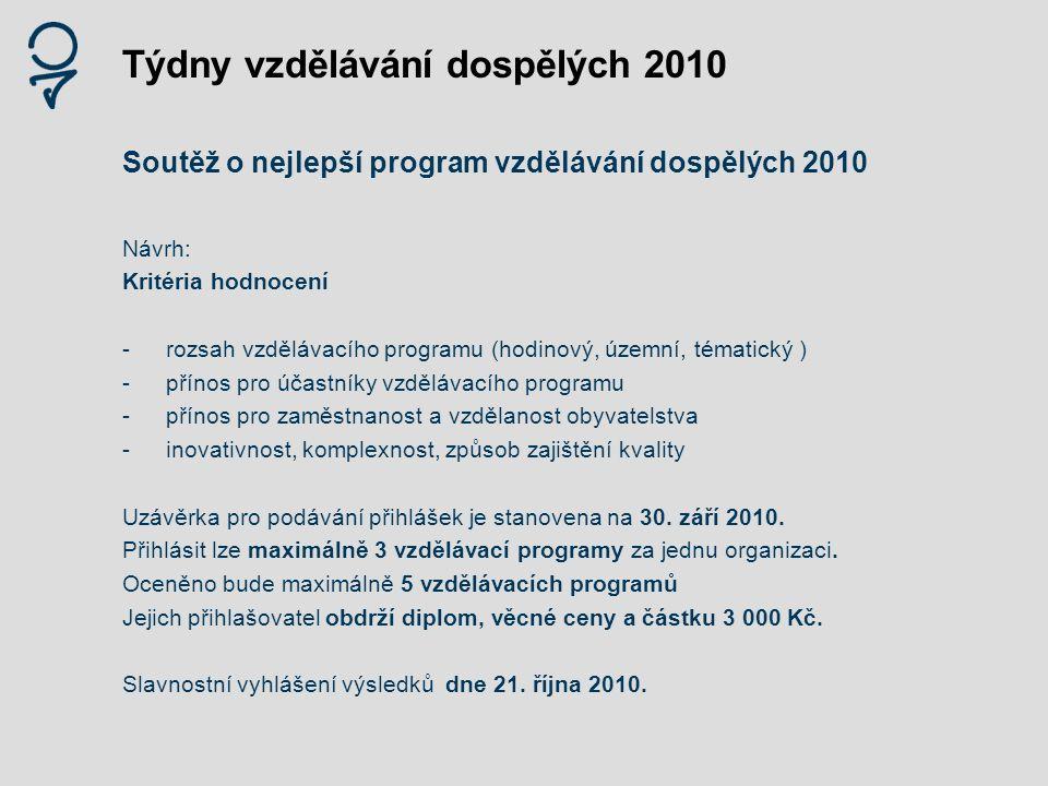 Týdny vzdělávání dospělých 2010 Soutěž o nejlepší program vzdělávání dospělých 2010 Návrh: Kritéria hodnocení -rozsah vzdělávacího programu (hodinový,