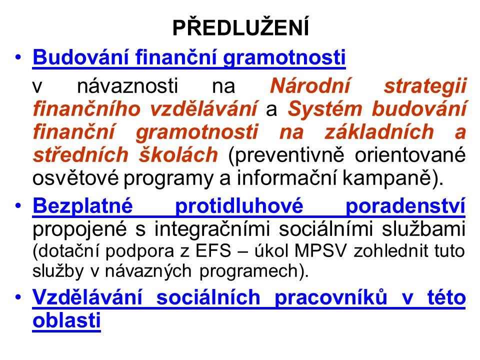 PŘEDLUŽENÍ Budování finanční gramotnosti v návaznosti na Národní strategii finančního vzdělávání a Systém budování finanční gramotnosti na základních a středních školách (preventivně orientované osvětové programy a informační kampaně).