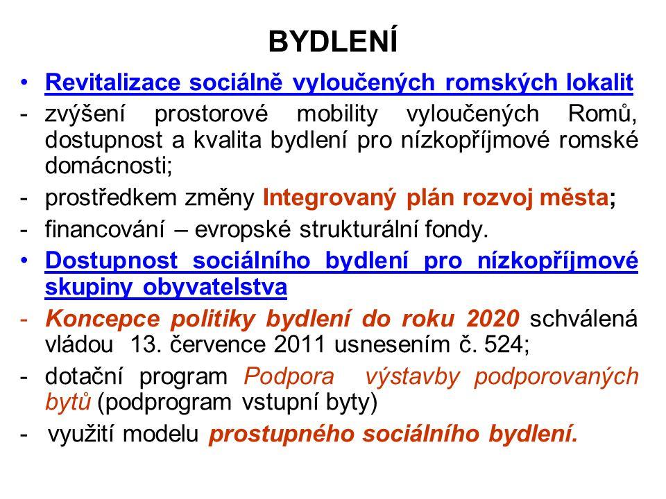 BYDLENÍ Revitalizace sociálně vyloučených romských lokalit -zvýšení prostorové mobility vyloučených Romů, dostupnost a kvalita bydlení pro nízkopříjmové romské domácnosti; -prostředkem změny Integrovaný plán rozvoj města; -financování – evropské strukturální fondy.