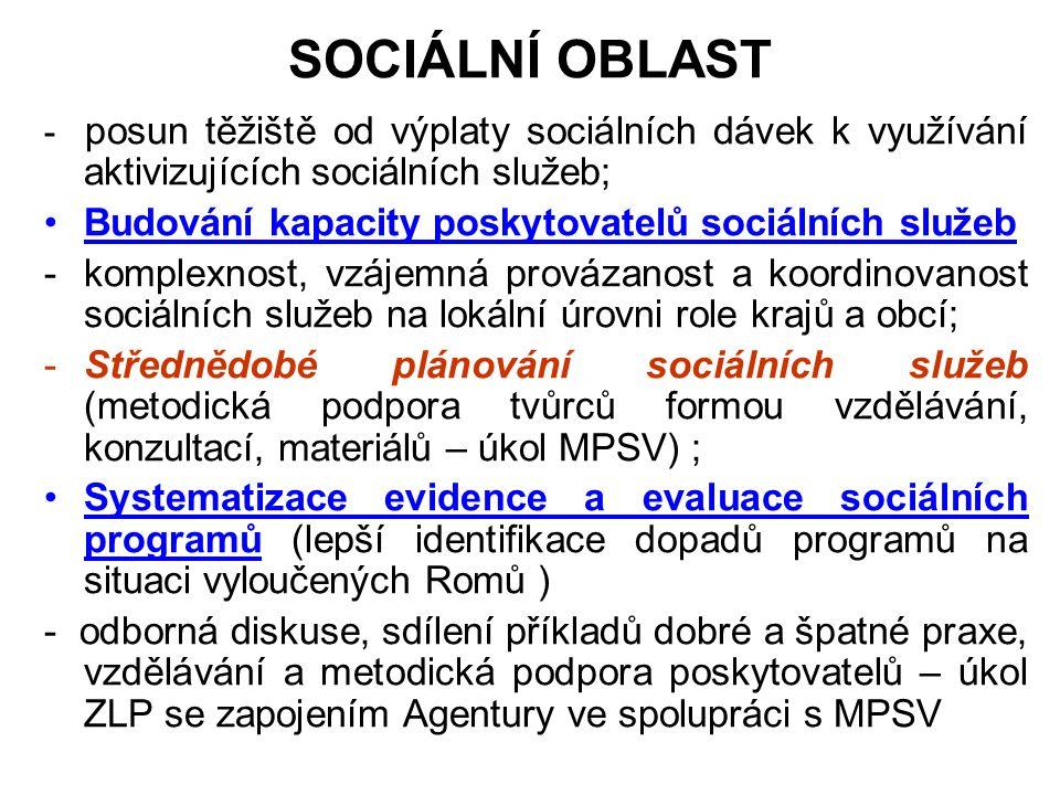 SOCIÁLNÍ OBLAST - posun těžiště od výplaty sociálních dávek k využívání aktivizujících sociálních služeb; Budování kapacity poskytovatelů sociálních služeb -komplexnost, vzájemná provázanost a koordinovanost sociálních služeb na lokální úrovni role krajů a obcí; -Střednědobé plánování sociálních služeb (metodická podpora tvůrců formou vzdělávání, konzultací, materiálů – úkol MPSV) ; Systematizace evidence a evaluace sociálních programů (lepší identifikace dopadů programů na situaci vyloučených Romů ) - odborná diskuse, sdílení příkladů dobré a špatné praxe, vzdělávání a metodická podpora poskytovatelů – úkol ZLP se zapojením Agentury ve spolupráci s MPSV