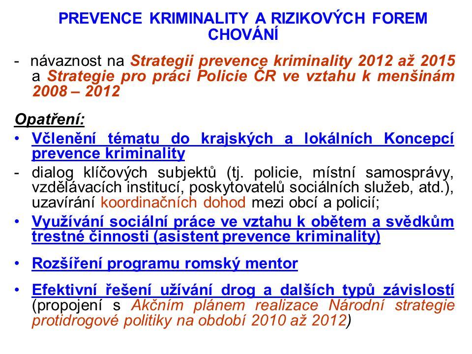PREVENCE KRIMINALITY A RIZIKOVÝCH FOREM CHOVÁNÍ - návaznost na Strategii prevence kriminality 2012 až 2015 a Strategie pro práci Policie ČR ve vztahu