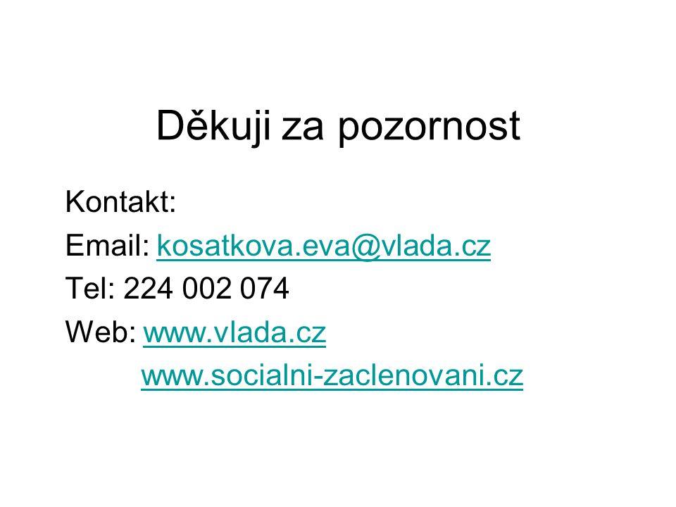 Děkuji za pozornost Kontakt: Email: kosatkova.eva@vlada.czkosatkova.eva@vlada.cz Tel: 224 002 074 Web: www.vlada.czwww.vlada.cz www.socialni-zaclenova