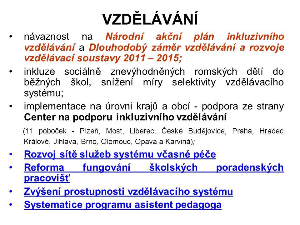 Programy na podporu přestupu do sekundárního a terciálního vzdělávání (osvěta směrem k rodičům, vzdělávací, motivační a osobnostně rozvojové aktivity pro žáky, doučování, kariérní poradenství, příprava na přijímací zkoušky); Vzdělávání dospělých Romů (rozvoj programů na podporu funkční gramotnosti, profesní vzdělávání); Odborná příprava pedagogů a poradenských pracovníků (vzdělávání, metodická podpora a supervize).