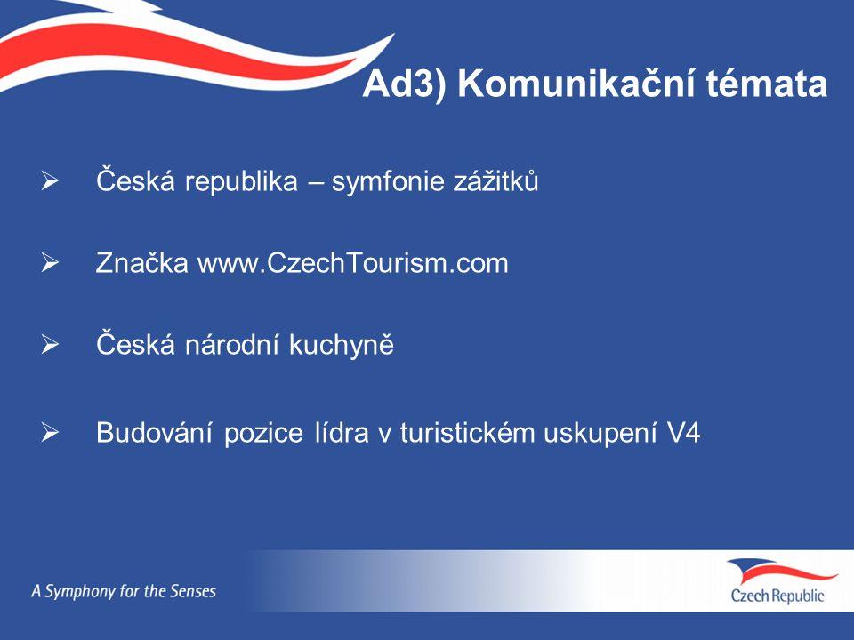Ad3) Komunikační témata  Česká republika – symfonie zážitků  Značka www.CzechTourism.com  Česká národní kuchyně  Budování pozice lídra v turistick