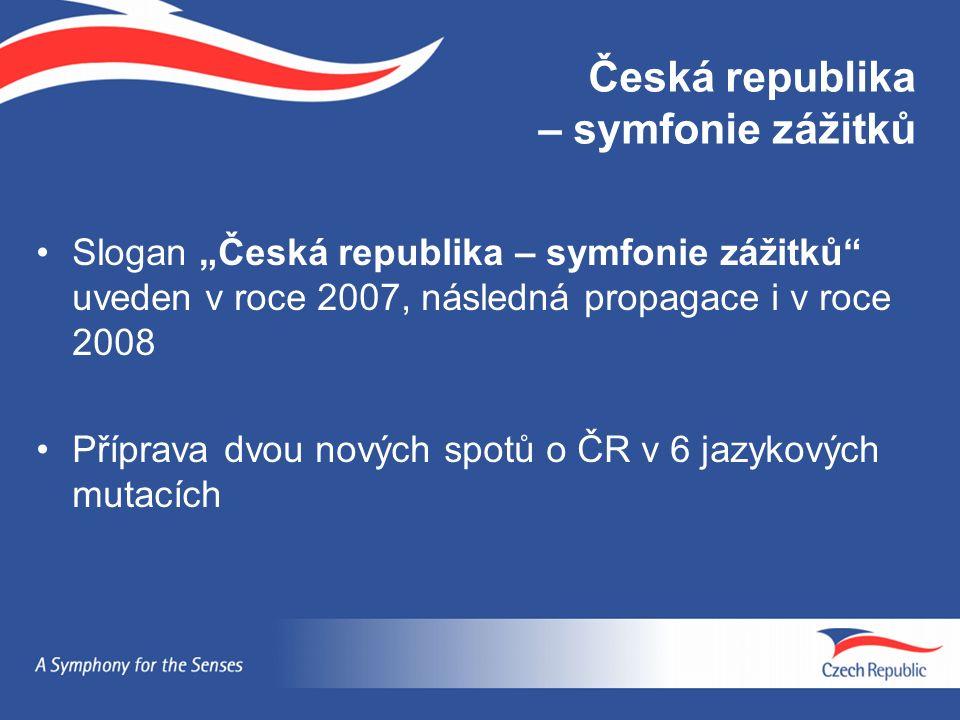 """Česká republika – symfonie zážitků Slogan """"Česká republika – symfonie zážitků uveden v roce 2007, následná propagace i v roce 2008 Příprava dvou nových spotů o ČR v 6 jazykových mutacích"""