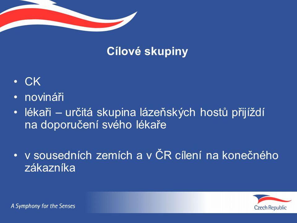 Cílové skupiny CK novináři lékaři – určitá skupina lázeňských hostů přijíždí na doporučení svého lékaře v sousedních zemích a v ČR cílení na konečného zákazníka
