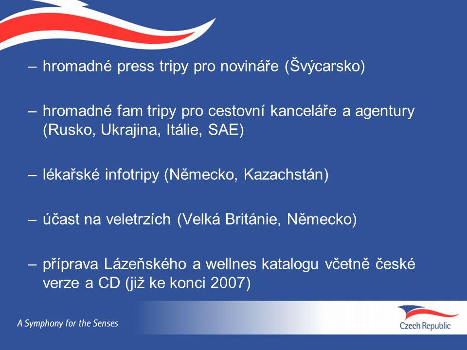 –hromadné press tripy pro novináře (Švýcarsko) –hromadné fam tripy pro cestovní kanceláře a agentury (Rusko, Ukrajina, Itálie, SAE) –lékařské infotripy (Německo, Kazachstán) –účast na veletrzích (Velká Británie, Německo) –příprava Lázeňského a wellnes katalogu včetně české verze a CD (již ke konci 2007)
