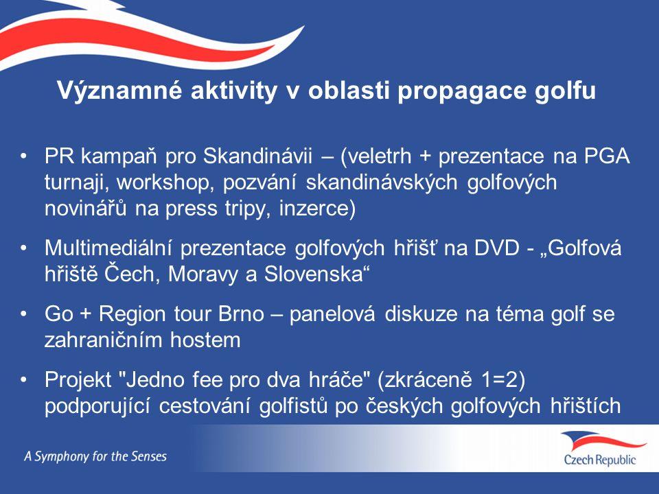 """Významné aktivity v oblasti propagace golfu PR kampaň pro Skandinávii – (veletrh + prezentace na PGA turnaji, workshop, pozvání skandinávských golfových novinářů na press tripy, inzerce) Multimediální prezentace golfových hřišť na DVD - """"Golfová hřiště Čech, Moravy a Slovenska Go + Region tour Brno – panelová diskuze na téma golf se zahraničním hostem Projekt Jedno fee pro dva hráče (zkráceně 1=2) podporující cestování golfistů po českých golfových hřištích"""