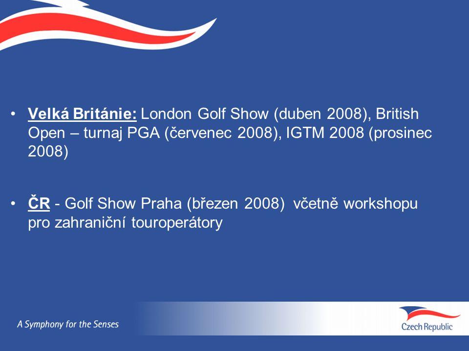 Velká Británie: London Golf Show (duben 2008), British Open – turnaj PGA (červenec 2008), IGTM 2008 (prosinec 2008) ČR - Golf Show Praha (březen 2008)