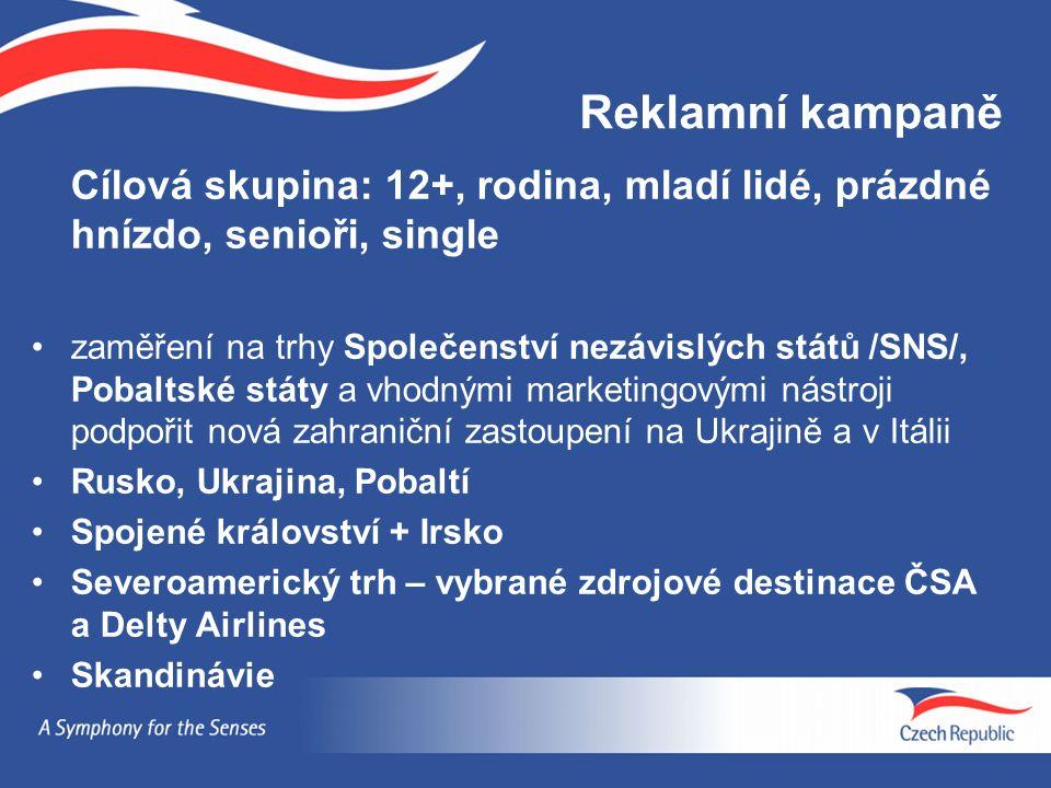 Reklamní kampaně Cílová skupina: 12+, rodina, mladí lidé, prázdné hnízdo, senioři, single zaměření na trhy Společenství nezávislých států /SNS/, Pobaltské státy a vhodnými marketingovými nástroji podpořit nová zahraniční zastoupení na Ukrajině a v Itálii Rusko, Ukrajina, Pobaltí Spojené království + Irsko Severoamerický trh – vybrané zdrojové destinace ČSA a Delty Airlines Skandinávie
