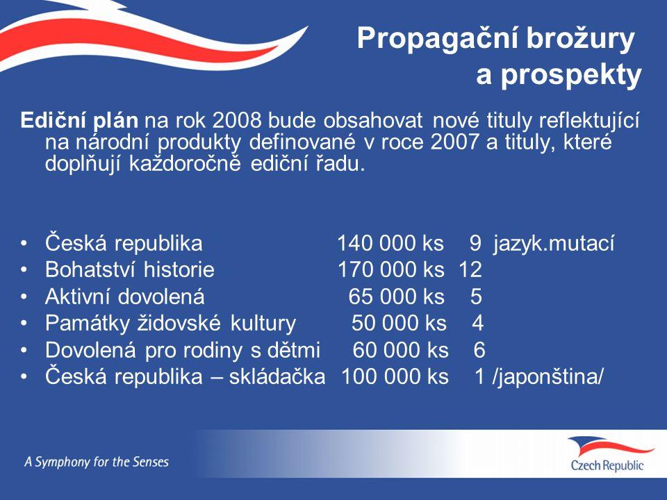 Propagační brožury a prospekty Ediční plán na rok 2008 bude obsahovat nové tituly reflektující na národní produkty definované v roce 2007 a tituly, kt