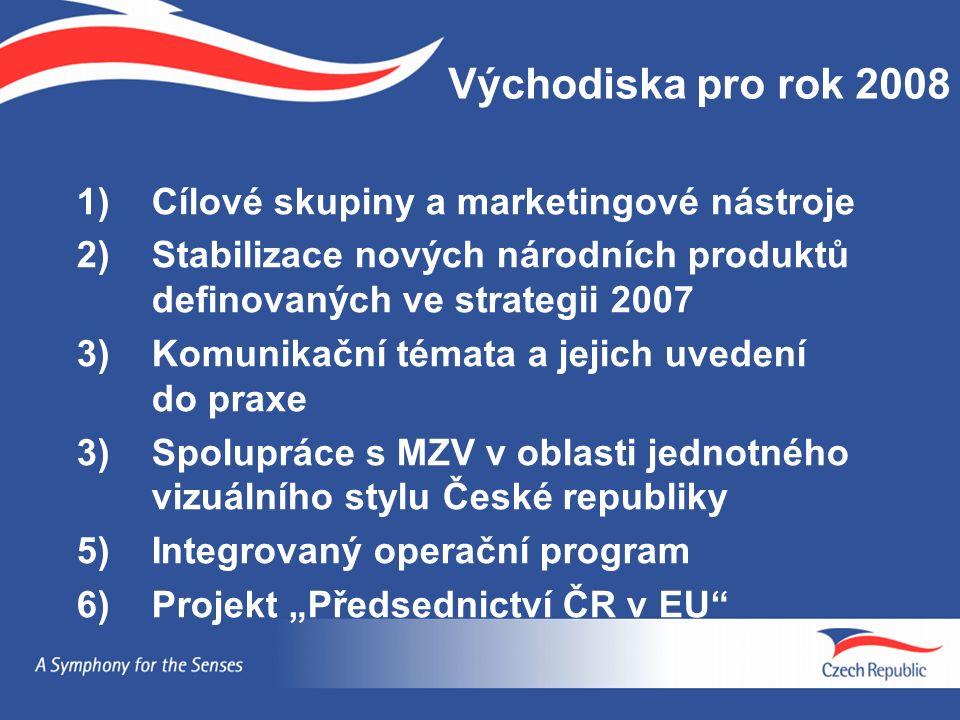 1)Cílové skupiny a marketingové nástroje 2)Stabilizace nových národních produktů definovaných ve strategii 2007 3)Komunikační témata a jejich uvedení