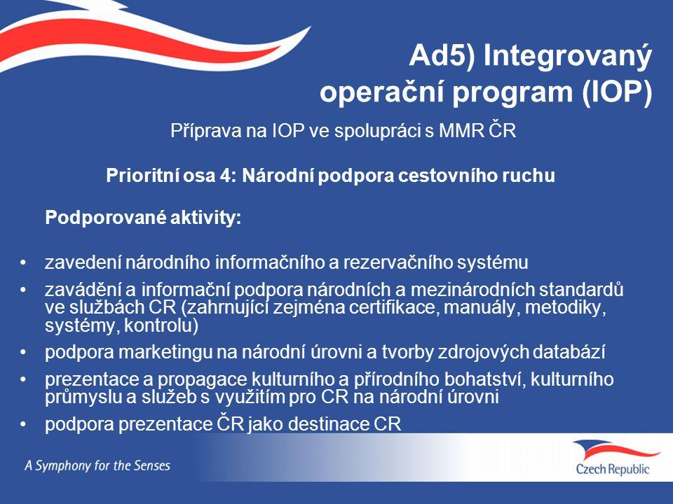 Ad5) Integrovaný operační program (IOP) Příprava na IOP ve spolupráci s MMR ČR Prioritní osa 4: Národní podpora cestovního ruchu Podporované aktivity: