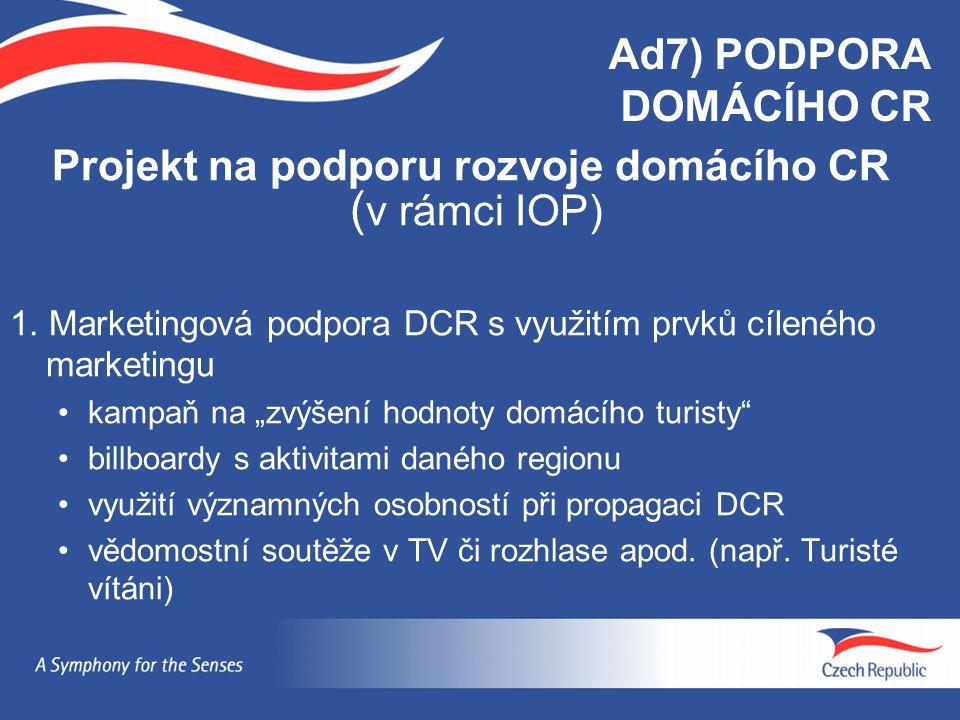 Ad7) PODPORA DOMÁCÍHO CR Projekt na podporu rozvoje domácího CR ( v rámci IOP) 1. Marketingová podpora DCR s využitím prvků cíleného marketingu kampaň