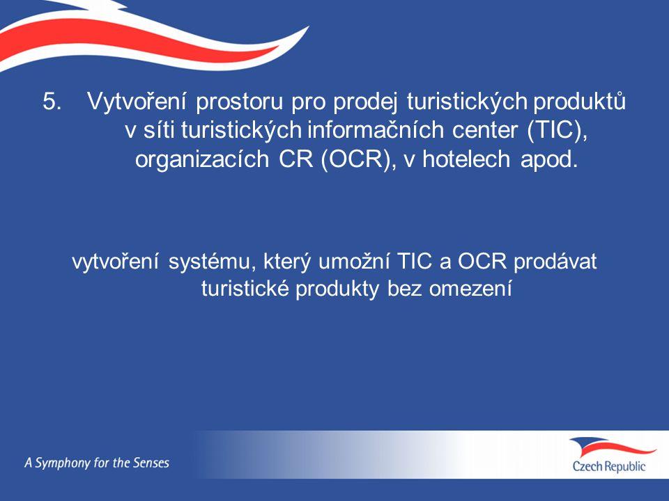 5.Vytvoření prostoru pro prodej turistických produktů v síti turistických informačních center (TIC), organizacích CR (OCR), v hotelech apod. vytvoření