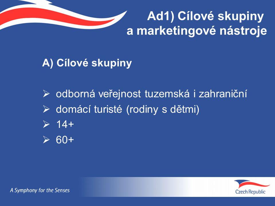A) Cílové skupiny  odborná veřejnost tuzemská i zahraniční  domácí turisté (rodiny s dětmi)  14+  60+ Ad1) Cílové skupiny a marketingové nástroje