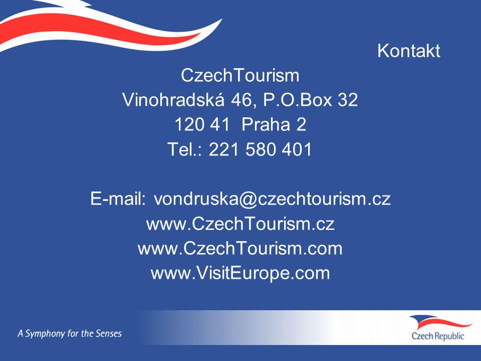 Kontakt CzechTourism Vinohradská 46, P.O.Box 32 120 41 Praha 2 Tel.: 221 580 401 E-mail: vondruska@czechtourism.cz www.CzechTourism.cz www.CzechTouris