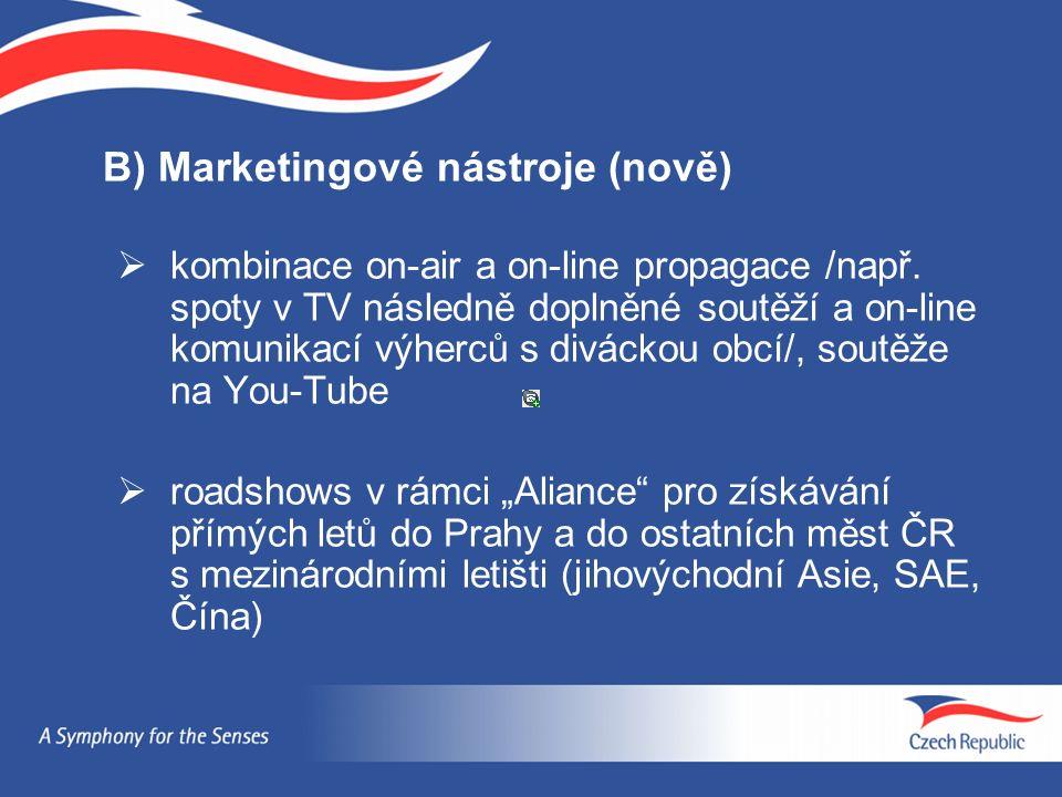 B) Marketingové nástroje (nově)  kombinace on-air a on-line propagace /např. spoty v TV následně doplněné soutěží a on-line komunikací výherců s divá