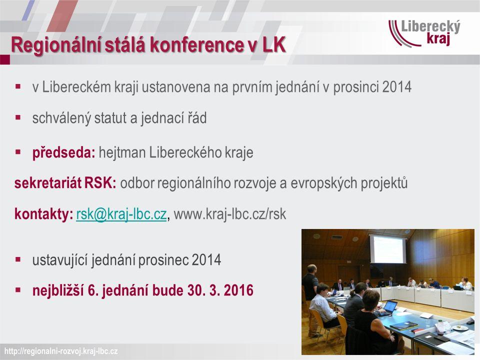Regionální stálá konference v LK  v Libereckém kraji ustanovena na prvním jednání v prosinci 2014  schválený statut a jednací řád  předseda: hejtman Libereckého kraje sekretariát RSK: odbor regionálního rozvoje a evropských projektů kontakty: rsk@kraj-lbc.cz, www.kraj-lbc.cz/rsk rsk@kraj-lbc.cz  ustavující jednání prosinec 2014  nejbližší 6.