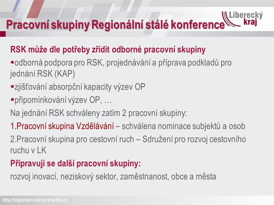 Pracovní skupiny Regionální stálé konference RSK může dle potřeby zřídit odborné pracovní skupiny  odborná podpora pro RSK, projednávání a příprava podkladů pro jednání RSK (KAP)  zjišťování absorpční kapacity výzev OP  připomínkování výzev OP, … Na jednání RSK schváleny zatím 2 pracovní skupiny: 1.Pracovní skupina Vzdělávání – schválena nominace subjektů a osob 2.Pracovní skupina pro cestovní ruch – Sdružení pro rozvoj cestovního ruchu v LK Připravují se další pracovní skupiny: rozvoj inovací, neziskový sektor, zaměstnanost, obce a města
