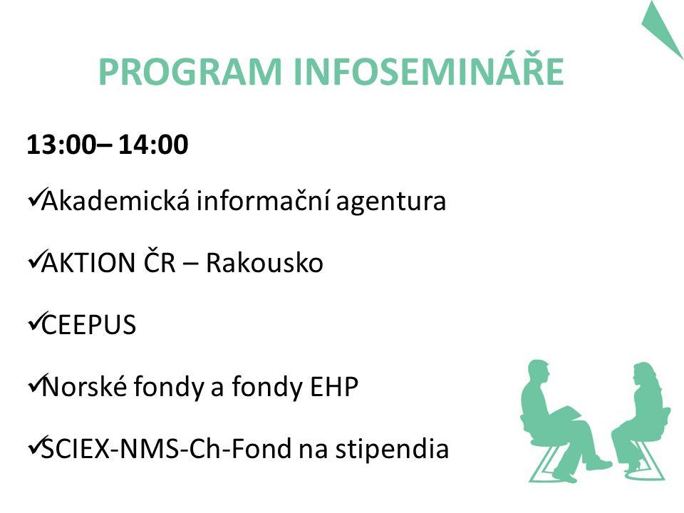 PROGRAM INFOSEMINÁŘE 13:00– 14:00 Akademická informační agentura AKTION ČR – Rakousko CEEPUS Norské fondy a fondy EHP SCIEX-NMS-Ch-Fond na stipendia