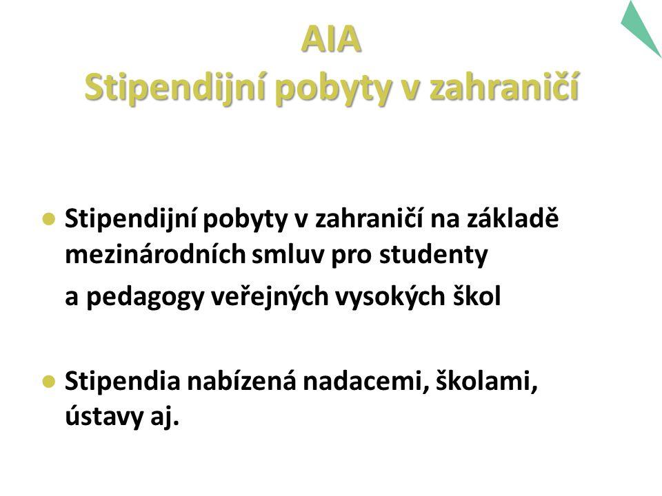 AIA Stipendijní pobyty v zahraničí ● Stipendijní pobyty v zahraničí na základě mezinárodních smluv pro studenty a pedagogy veřejných vysokých škol ● Stipendia nabízená nadacemi, školami, ústavy aj.