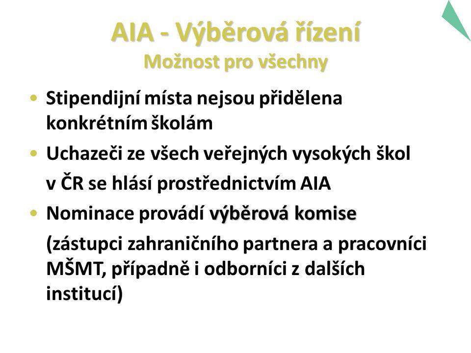 AIA - Výběrová řízení Možnost pro všechny Stipendijní místa nejsou přidělena konkrétním školám Uchazeči ze všech veřejných vysokých škol v ČR se hlásí prostřednictvím AIA výběrová komiseNominace provádí výběrová komise (zástupci zahraničního partnera a pracovníci MŠMT, případně i odborníci z dalších institucí)