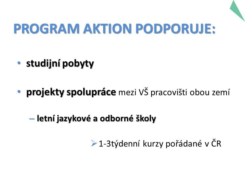 PROGRAM AKTION PODPORUJE: studijní pobyty studijní pobyty projekty spolupráce projekty spolupráce mezi VŠ pracovišti obou zemí – letní jazykové a odborné školy  1-3týdenní kurzy pořádané v ČR