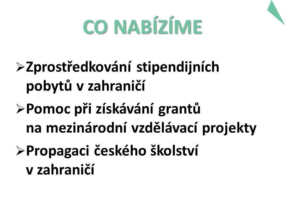 CO NABÍZÍME  Zprostředkování stipendijních pobytů v zahraničí  Pomoc při získávání grantů na mezinárodní vzdělávací projekty  Propagaci českého školství v zahraničí