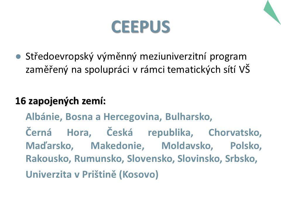 CEEPUS ● Středoevropský výměnný meziuniverzitní program zaměřený na spolupráci v rámci tematických sítí VŠ 16 zapojených zemí: Albánie, Bosna a Hercegovina, Bulharsko, Černá Hora, Česká republika, Chorvatsko, Maďarsko, Makedonie, Moldavsko, Polsko, Rakousko, Rumunsko, Slovensko, Slovinsko, Srbsko, Univerzita v Prištině (Kosovo)