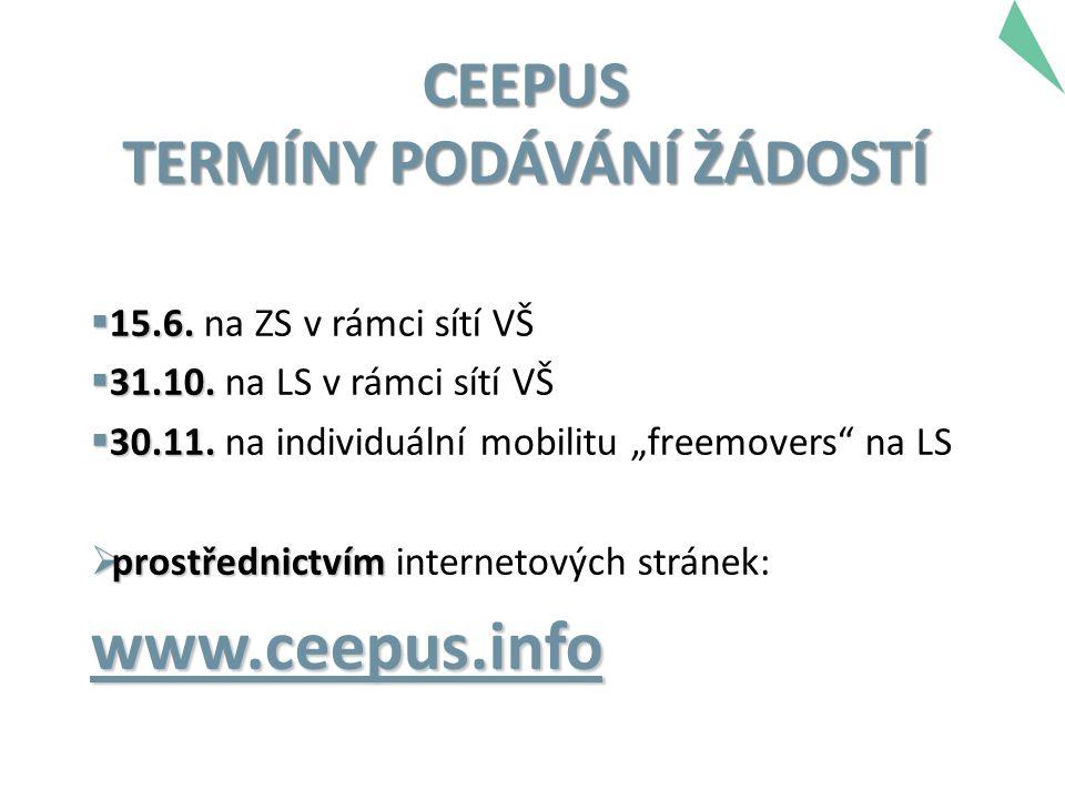 CEEPUS TERMÍNY PODÁVÁNÍ ŽÁDOSTÍ  15.6.  15.6. na ZS v rámci sítí VŠ  31.10.