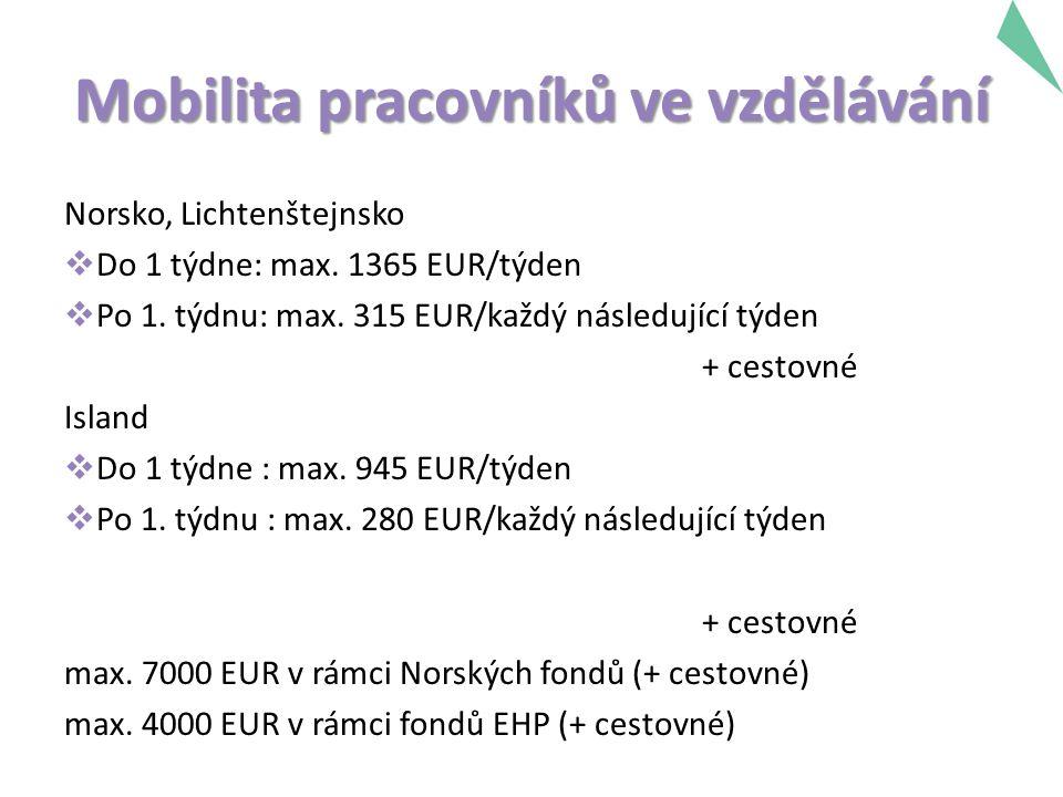 Mobilita pracovníků ve vzdělávání Norsko, Lichtenštejnsko  Do 1 týdne: max.