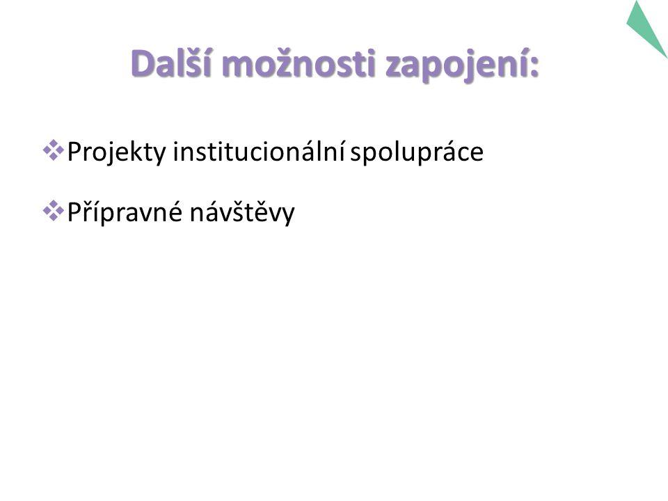 Další možnosti zapojení:  Projekty institucionální spolupráce  Přípravné návštěvy