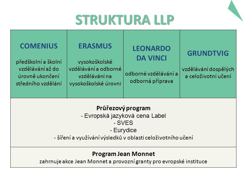 STRUKTURA LLP COMENIUS předškolní a školní vzdělávání až do úrovně ukončení středního vzdělání ERASMUS vysokoškolské vzdělávání a odborné vzdělávání na vysokoškolské úrovni LEONARDO DA VINCI odborné vzdělávání a odborná příprava GRUNDTVIG vzdělávání dospělých a celoživotní učení Průřezový program - Evropská jazyková cena Label - SVES - Eurydice - šíření a využívání výsledků v oblasti celoživotního učení Program Jean Monnet zahrnuje akce Jean Monnet a provozní granty pro evropské instituce