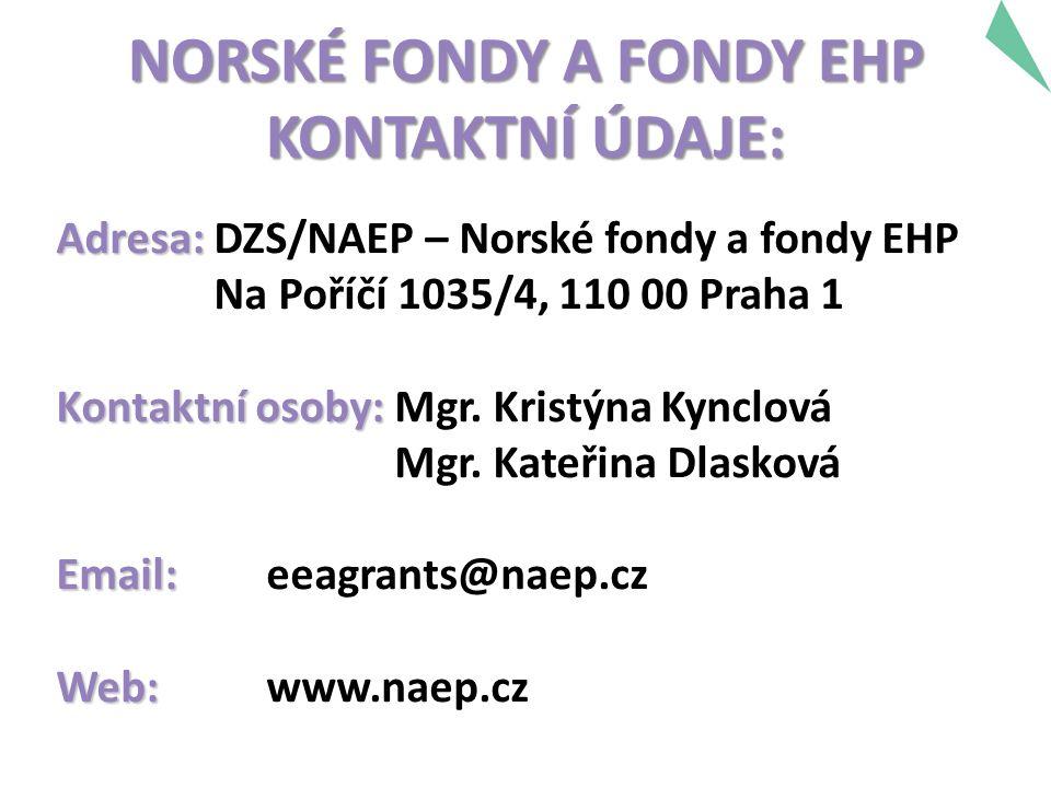 NORSKÉ FONDY A FONDY EHP KONTAKTNÍ ÚDAJE: Adresa: Adresa: DZS/NAEP – Norské fondy a fondy EHP Na Poříčí 1035/4, 110 00 Praha 1 Kontaktní osoby: Kontaktní osoby: Mgr.