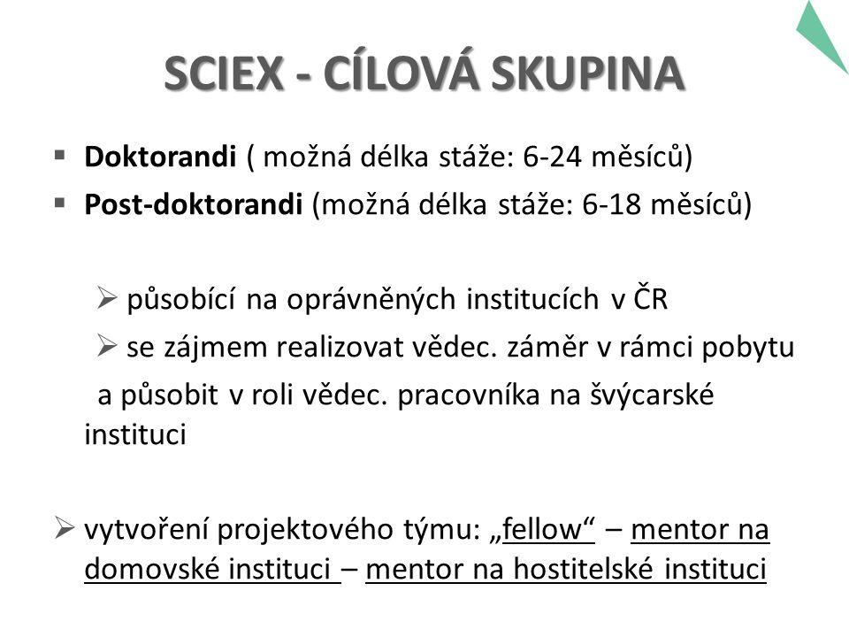 SCIEX - CÍLOVÁ SKUPINA  Doktorandi ( možná délka stáže: 6-24 měsíců)  Post-doktorandi (možná délka stáže: 6-18 měsíců)  působící na oprávněných institucích v ČR  se zájmem realizovat vědec.