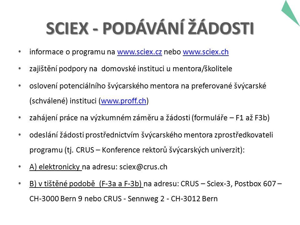 SCIEX - PODÁVÁNÍ ŽÁDOSTI informace o programu na www.sciex.cz nebo www.sciex.chwww.sciex.czwww.sciex.ch zajištění podpory na domovské instituci u mentora/školitele oslovení potenciálního švýcarského mentora na preferované švýcarské (schválené) instituci (www.proff.ch)www.proff.ch zahájení práce na výzkumném záměru a žádosti (formuláře – F1 až F3b) odeslání žádosti prostřednictvím švýcarského mentora zprostředkovateli programu (tj.