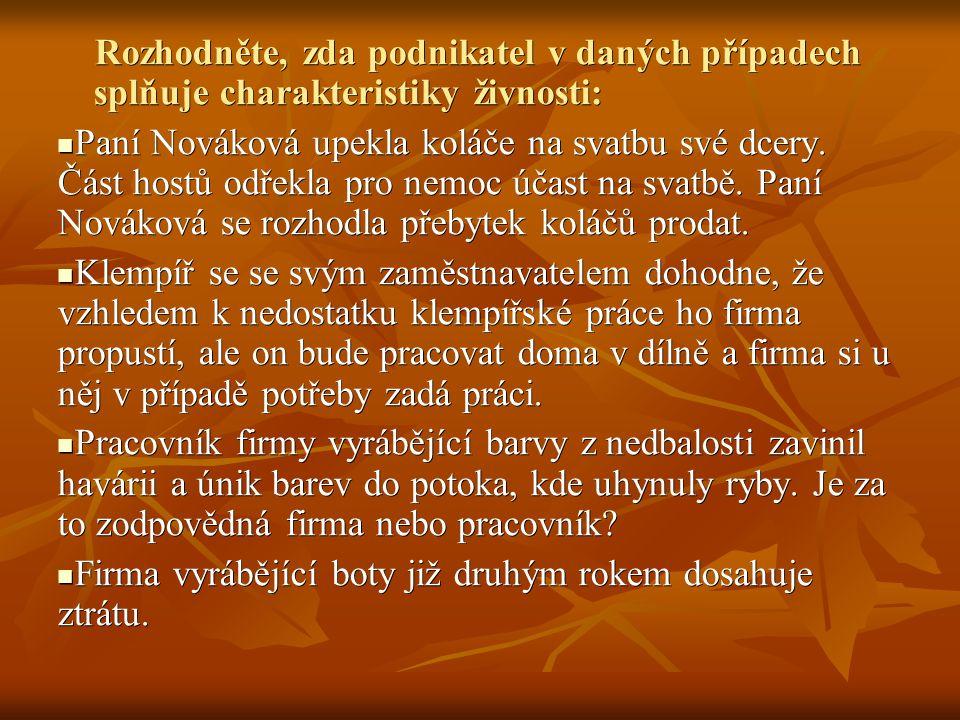 Rozhodněte, zda podnikatel v daných případech splňuje charakteristiky živnosti: Rozhodněte, zda podnikatel v daných případech splňuje charakteristiky živnosti: Paní Nováková upekla koláče na svatbu své dcery.