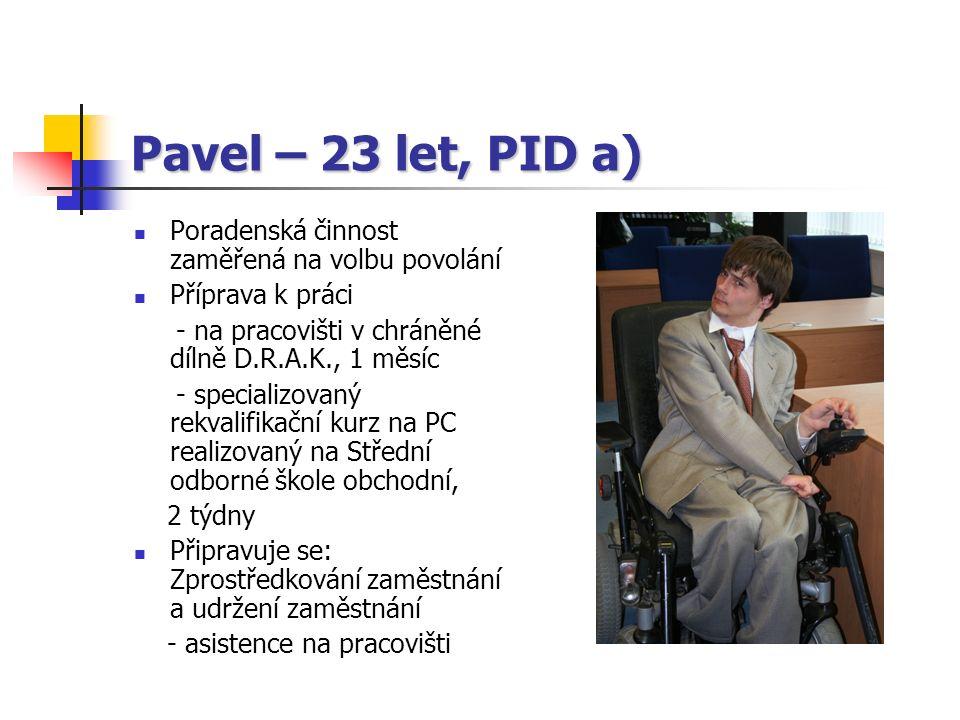 Pavel – 23 let, PID a) Poradenská činnost zaměřená na volbu povolání Příprava k práci - na pracovišti v chráněné dílně D.R.A.K., 1 měsíc - specializovaný rekvalifikační kurz na PC realizovaný na Střední odborné škole obchodní, 2 týdny Připravuje se: Zprostředkování zaměstnání a udržení zaměstnání - asistence na pracovišti