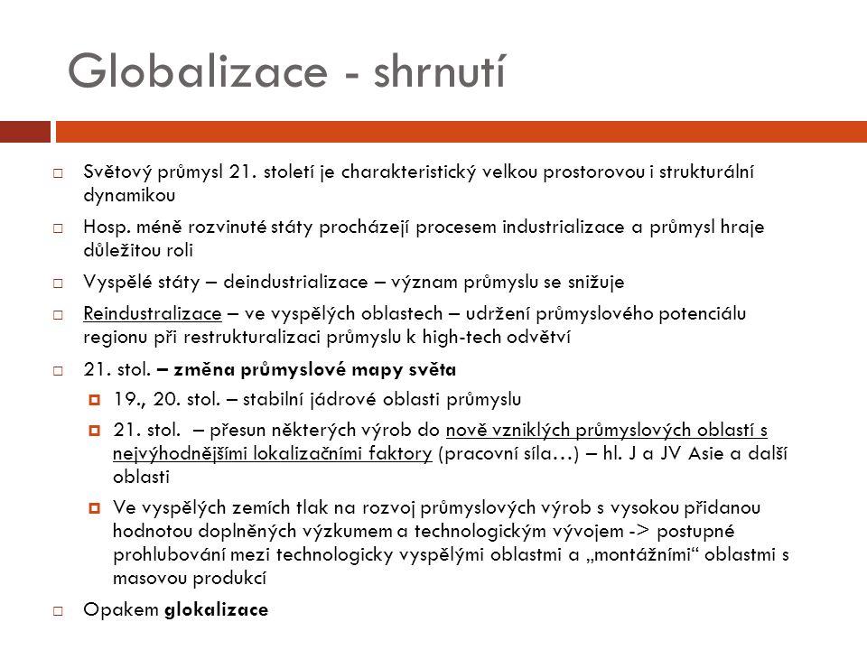 Globalizace - shrnutí  Světový průmysl 21.
