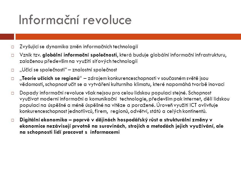 Informační revoluce  Zvyšující se dynamika změn informačních technologií  Vznik tzv.