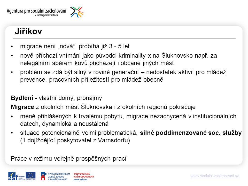 """www.socialni-zaclenovani.cz Jiříkov migrace není """"nová , probíhá již 3 - 5 let nově příchozí vnímáni jako původci kriminality x na Šluknovsko např."""