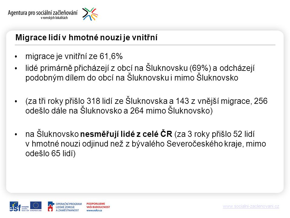 www.socialni-zaclenovani.cz Migrace lidí v hmotné nouzi je vnitřní migrace je vnitřní ze 61,6% lidé primárně přicházejí z obcí na Šluknovsku (69%) a odcházejí podobným dílem do obcí na Šluknovsku i mimo Šluknovsko (za tři roky přišlo 318 lidí ze Šluknovska a 143 z vnější migrace, 256 odešlo dále na Šluknovsko a 264 mimo Šluknovsko) na Šluknovsko nesměřují lidé z celé ČR (za 3 roky přišlo 52 lidí v hmotné nouzi odjinud než z bývalého Severočeského kraje, mimo odešlo 65 lidí)