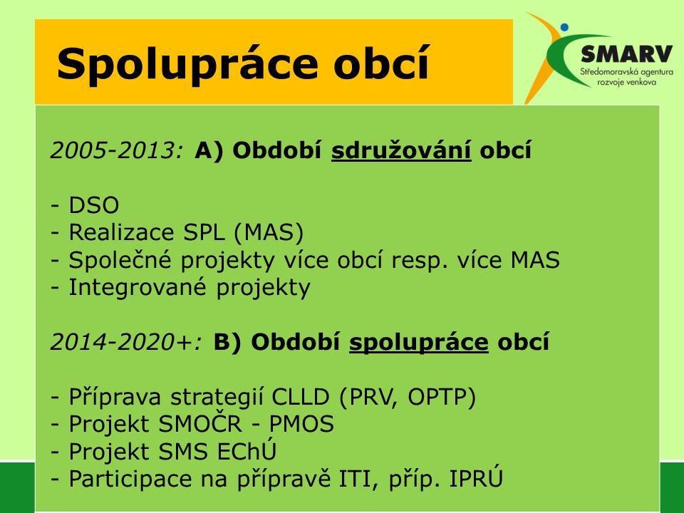 Spolupráce obcí 2005-2013: A) Období sdružování obcí - DSO - Realizace SPL (MAS) - Společné projekty více obcí resp.