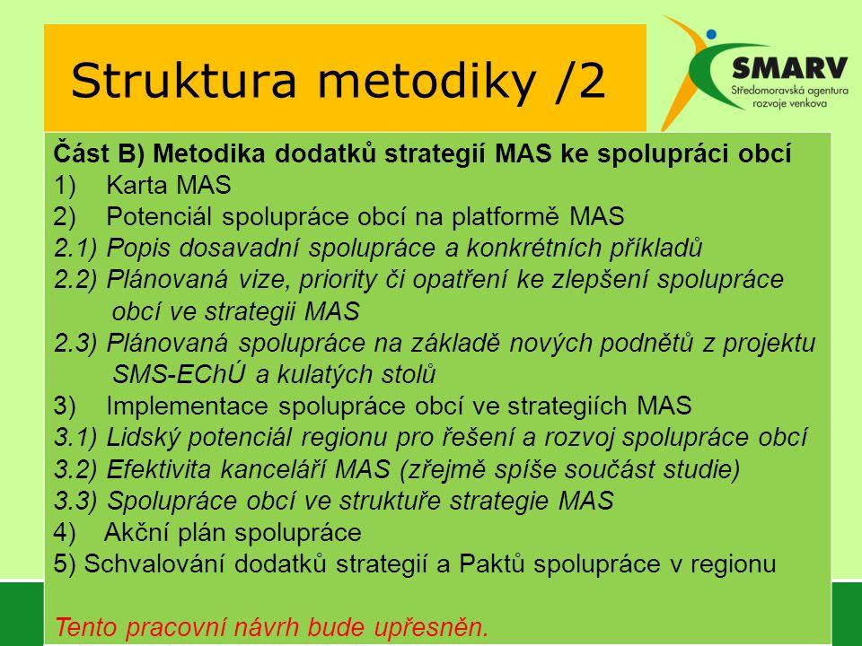 Struktura metodiky /2 Část B) Metodika dodatků strategií MAS ke spolupráci obcí 1) Karta MAS 2) Potenciál spolupráce obcí na platformě MAS 2.1) Popis dosavadní spolupráce a konkrétních příkladů 2.2) Plánovaná vize, priority či opatření ke zlepšení spolupráce obcí ve strategii MAS 2.3) Plánovaná spolupráce na základě nových podnětů z projektu SMS-EChÚ a kulatých stolů 3) Implementace spolupráce obcí ve strategiích MAS 3.1) Lidský potenciál regionu pro řešení a rozvoj spolupráce obcí 3.2) Efektivita kanceláří MAS (zřejmě spíše součást studie) 3.3) Spolupráce obcí ve struktuře strategie MAS 4) Akční plán spolupráce 5) Schvalování dodatků strategií a Paktů spolupráce v regionu Tento pracovní návrh bude upřesněn.
