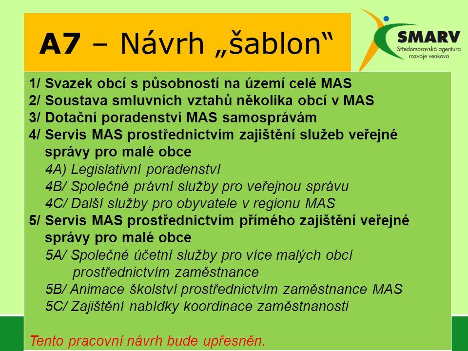 """A7 – Návrh """"šablon 1/ Svazek obcí s působností na území celé MAS 2/ Soustava smluvních vztahů několika obcí v MAS 3/ Dotační poradenství MAS samosprávám 4/ Servis MAS prostřednictvím zajištění služeb veřejné správy pro malé obce 4A) Legislativní poradenství 4B/ Společné právní služby pro veřejnou správu 4C/ Další služby pro obyvatele v regionu MAS 5/ Servis MAS prostřednictvím přímého zajištění veřejné správy pro malé obce 5A/ Společné účetní služby pro více malých obcí prostřednictvím zaměstnance 5B/ Animace školství prostřednictvím zaměstnance MAS 5C/ Zajištění nabídky koordinace zaměstnanosti Tento pracovní návrh bude upřesněn."""