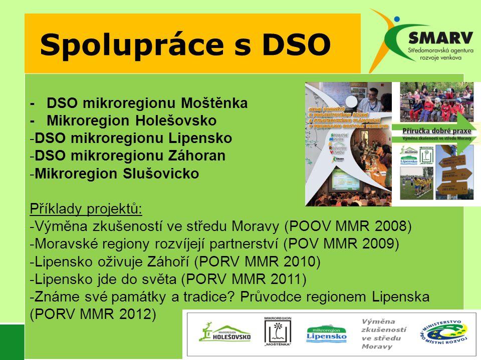 Spolupráce s DSO - DSO mikroregionu Moštěnka - Mikroregion Holešovsko -DSO mikroregionu Lipensko -DSO mikroregionu Záhoran -Mikroregion Slušovicko Příklady projektů: -Výměna zkušeností ve středu Moravy (POOV MMR 2008) -Moravské regiony rozvíjejí partnerství (POV MMR 2009) -Lipensko oživuje Záhoří (PORV MMR 2010) -Lipensko jde do světa (PORV MMR 2011) -Známe své památky a tradice.