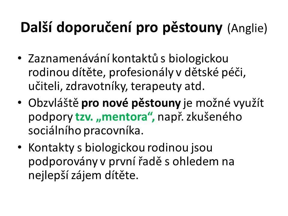 Další doporučení pro pěstouny (Anglie) Zaznamenávání kontaktů s biologickou rodinou dítěte, profesionály v dětské péči, učiteli, zdravotníky, terapeut